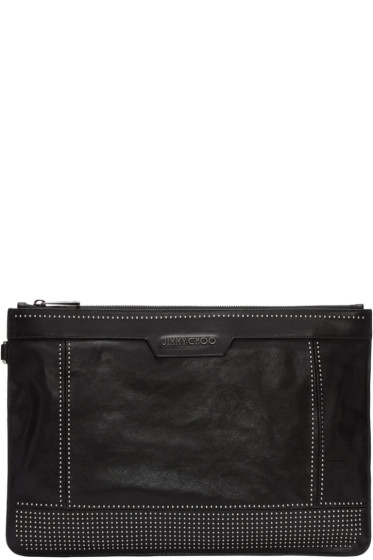 Jimmy Choo - Black Studded Leather Derek Pouch