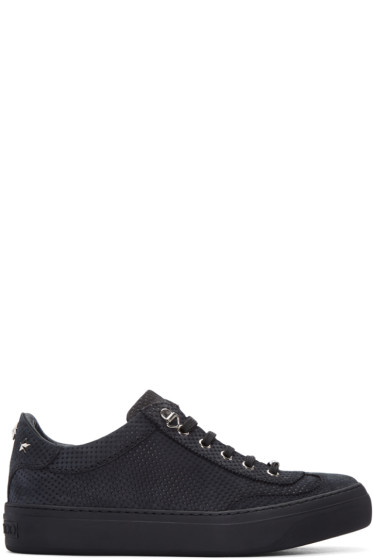 Jimmy Choo - Grey Nubuck Perforated Ace Sneakers
