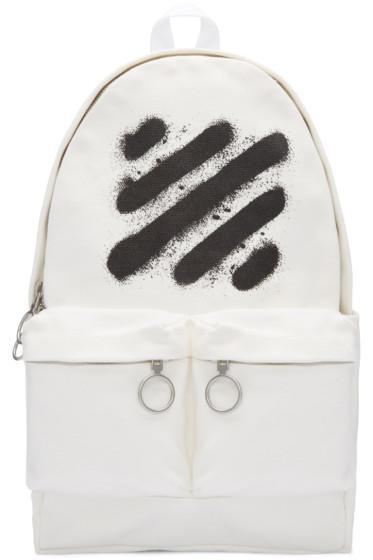 Off-White - White Diagonal Spray Backpack