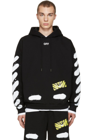 Off-White - Black Diagonal Spray Hoodie