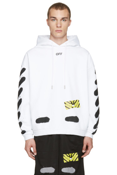 Off-White - White Diagonal Spray Hoodie