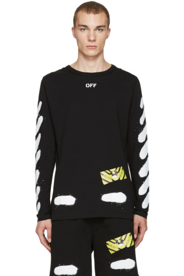 Off-White - Black Diagonal Spray Long Sleeve T-Shirt