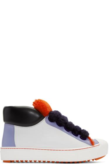 Fendi - White Colorblock High-Top Sneakers
