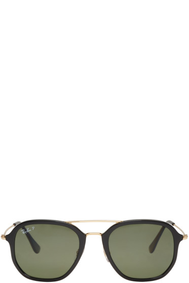 Ray-Ban - Black & Gold Aviator Sunglasses