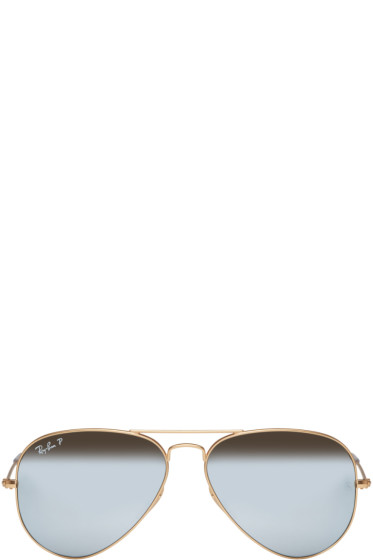 Ray-Ban - Gold Mirrored Aviator Sunglasses