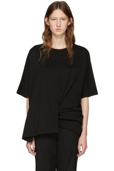 Y's - Black Draped T-Shirt