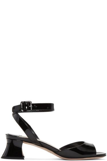 Miu Miu - Black Patent Leather Heeled Sandals
