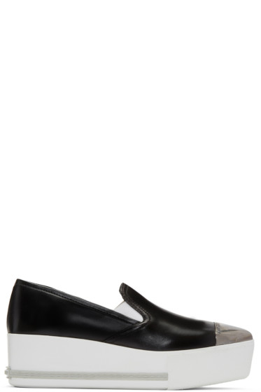 Miu Miu - Black Platform Slip-On Sneakers