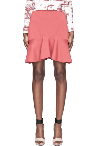Carven - Washed Red Knit Pleated Flounce Skirt