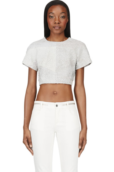 Proenza Schouler - Grey Leather Paneled Python Crop- Top