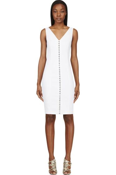 Versace - White Linen Hook-Front V-Neck Dress