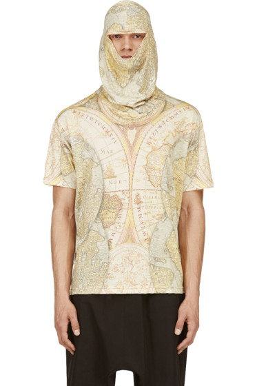 KTZ - Yellow Digital Map Print Mask T-Shirt