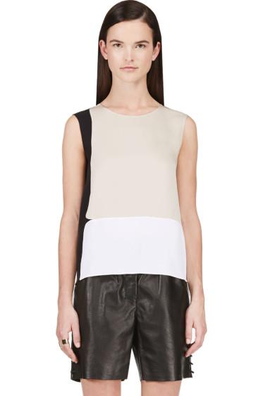 Calvin Klein Collection - Beige Stretch Silk Satin Toral Blouse
