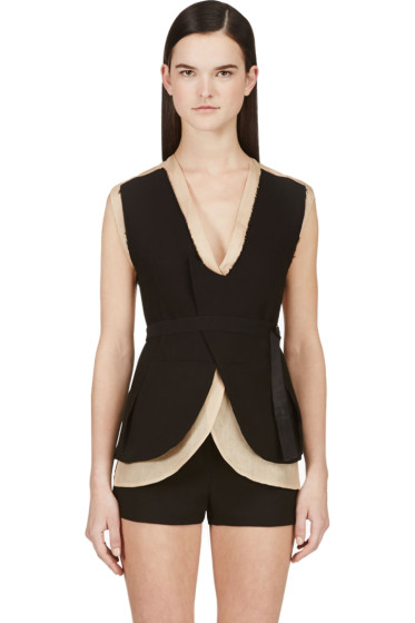 Costume National - Nude & Black Layered Backless Vest