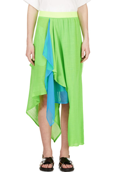 Yohji Yamamoto - Green Draped Asymmetrical Hybrid Skirt