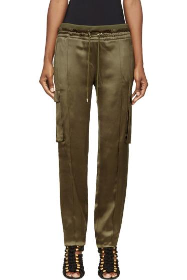 Balmain - Khaki Silk Cargo Lounge Pants