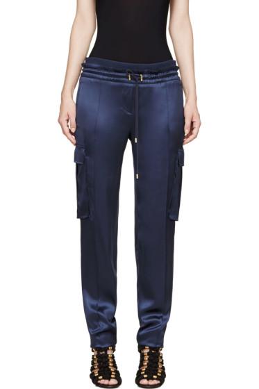 Balmain - Blue Silk Cargo Trousers