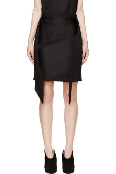 Lanvin - Ink Blue Wool Fringed Mini Skirt