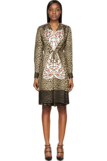 Givenchy - Leopard Print Silk Butterfly Embroidered Dress