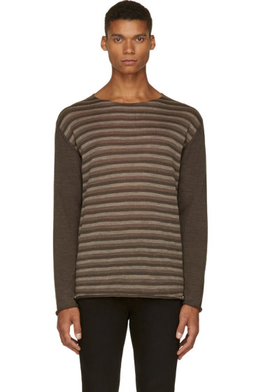 Undercover - Brown Wool Striped T-Shirt