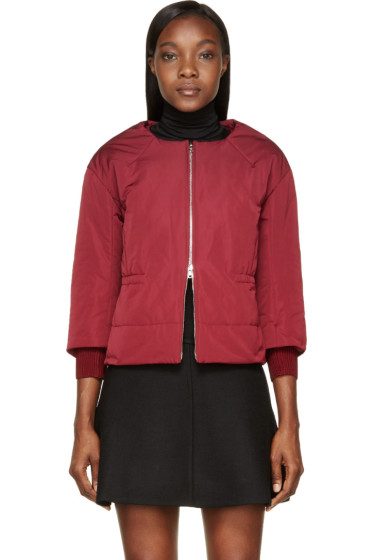 Nina Ricci - Burgundy Insulated Cropped Sleeve Jacket