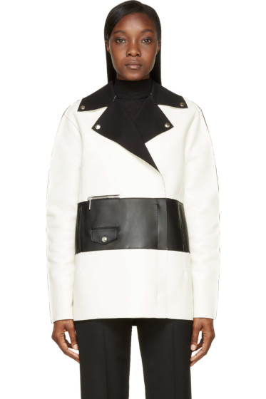 Costume National - White & Black Colorblock Leather Biker Jacket