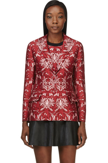 Mother of Pearl - Red Cotton-Silk Floral Nadia Blazer