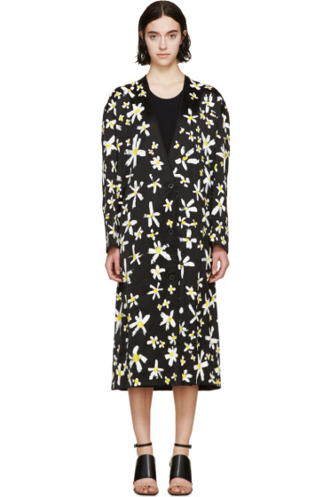 Maison Margiela - Black Hand-Painted Daisy Coat
