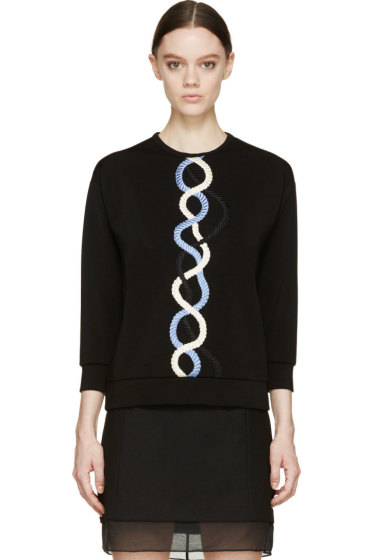 Christopher Kane - Black Rope Embroidered Top