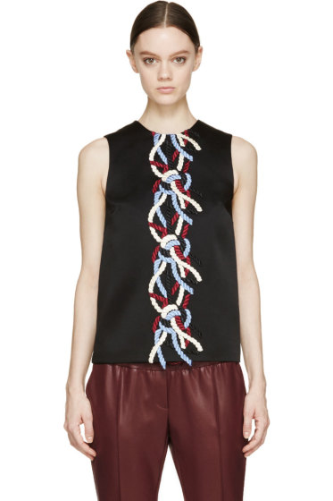 Christopher Kane - Black Rope Embroidered Tank Top