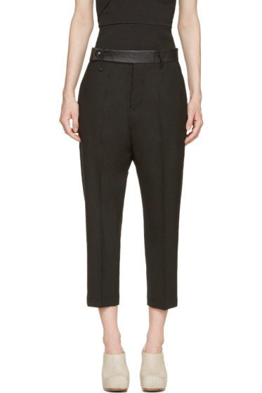 Rick Owens - Black Leather Trim Cropped Trousers