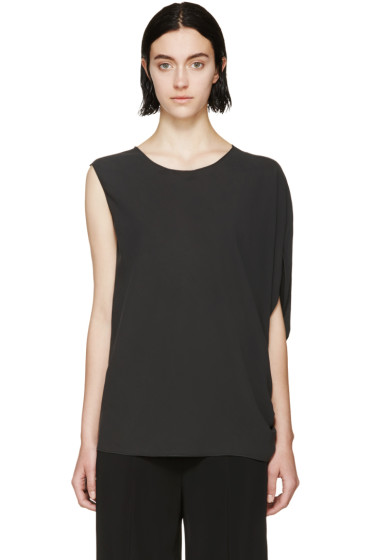 Lanvin - Charcoal Silk Asymmetric Top