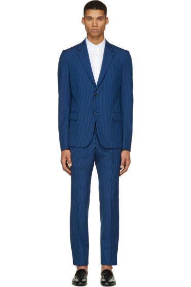 Alexander McQueen - Blue Wool Classic Candy Stripe Suit