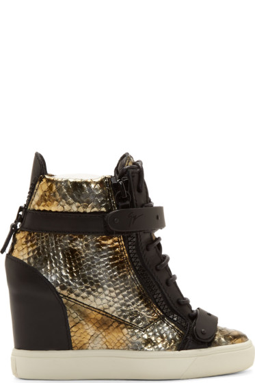 Giuseppe Zanotti - Black & Bronze Wedge Some Lorenz Sneakers