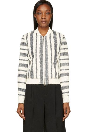 3.1 Phillip Lim - White Sketched Stripe Leather Bomber Jacket