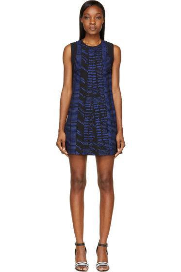 Proenza Schouler - Black & Marine Blue Woodblock Print Dress