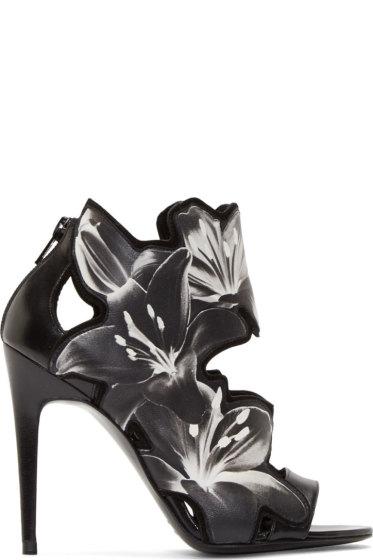 Pierre Hardy - Black & White Laser-Cut Lily Heels