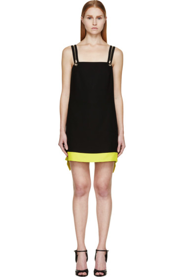 Versace - Black & Lime Colorblock Zip Strap Dress