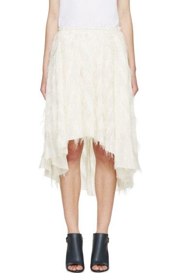 Cédric Charlier - Ivory Fringe Skirt
