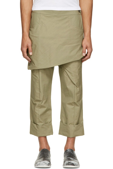 Thamanyah - Green Waxed Skirt Trousers