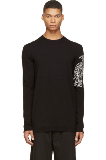 Thamanyah - Black Knit Bird Print Sweater