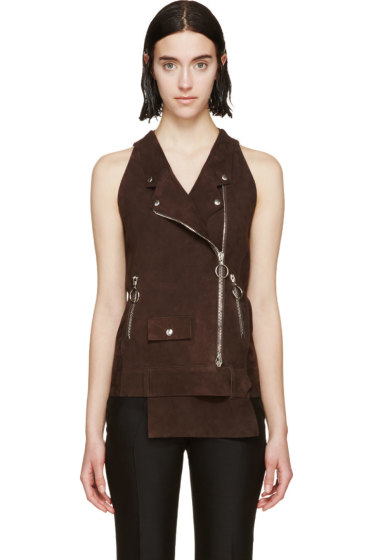Costume National - Brown Suede Biker Vest