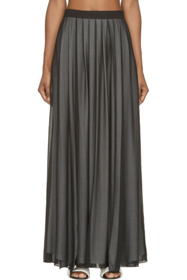 Costume National - Black Layered Vented Maxi Skirt