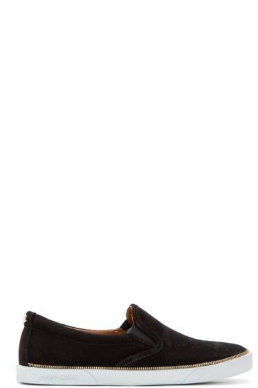 Jimmy Choo - Black Suede Zip Trim Sneakers