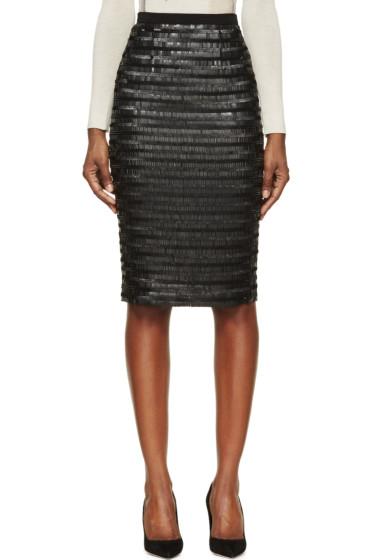 Burberry London - Black Silk Sequin Embroidered Midi Skirt