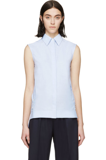 Paco Rabanne - Blue Sleeveless Oxford Shirt