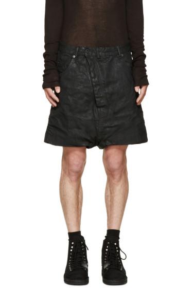 11 by Boris Bidjan Saberi - Black Coated Denim Shorts