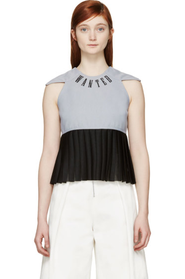 S by S Studio - Blue & Black Pleated Logo Top