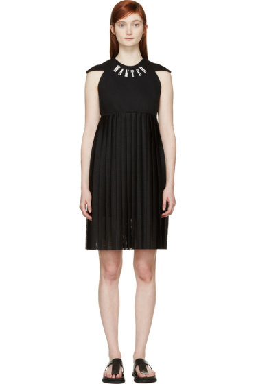 S by S Studio - Black Mesh Pleated Logo Dress
