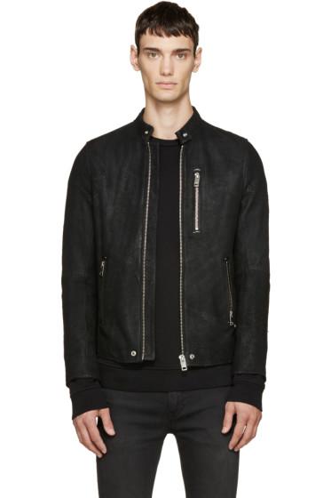 Diesel - Black Distressed Suede Biker Jacket